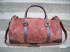 Vintage Marlboro Suede Leather Travel Duffle Luggage Overnight Weekend Bag Pack