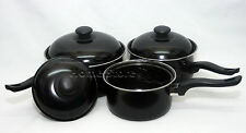 3pc Non Stick Cookware Set Saucepan Pot  With Lid Fry Frying Induction Pan Black