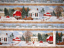 Christmas Barn Sleigh House Cotton Fabric Stripe Wilmington Sleigh Ride ~ Yard