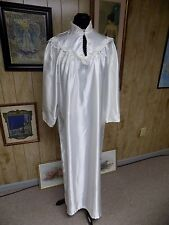 Vintage Off White Liquid Satin Cotton Lined Lace Trim Ilise Stevens Nightgown L
