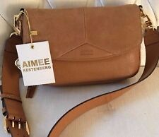 NEW Authentic Aimee Kestenberg Billy Leather & Suede Latte Shoulder Bag Ret $189
