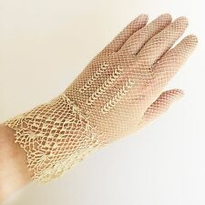 Antique Ivory Gloves Fine Crochet Lace Size SM Hand Crocheted