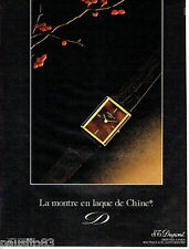 PUBLICITE ADVERTISING 056  1982  la montre en laque de Chine S.T Dupont
