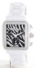 New Michele Deco White Ceramic Zebra MWW06F000010 Ladies Watch