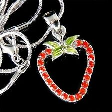 w Swarovski Crystal Juicy Red STRAWBERRY Fruit pendant Charm Chain Necklace Xmas