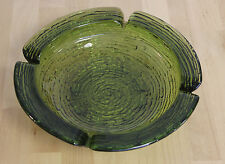Vintage Heavy Ribbed Glass Ashtray Trans Green Large