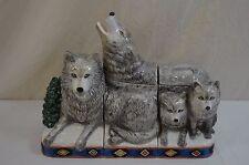 Wolf Wolves Cookie Jar Set Or Sugar Coffee Flour Ceramic 3 Jars W/Lids 1100-4-5
