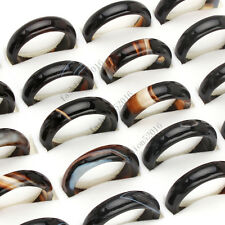 FREE wholesale lots 50pcs Black natural agate gemstone rings Jewelry woman