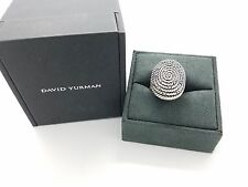 David Yurman Sterling Silver Large Oval Coil Cable Diamond Wide Ring Size 6
