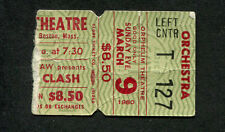 Original 1980 The Clash Concert Ticket Stub Boston MA London Calling