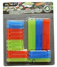 New 20pc Colourful Bag Clips Food Storage Fresh Reusable Kitchen Fridge Sealing