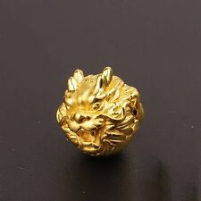 New Real 999 24k Yellow Gold 3D Lucky Bless Dragon Head Bead Pendant 14mm 1.6g