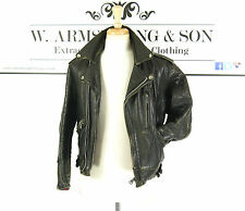 Men's VTG 70s Black REAL LEATHER Biker Motorcycle Racing AERO CLIX ZIP Jacket S
