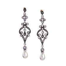 E968 Betsey Johnson Vintage Downton Abbey Crystal Gem Drop Pearl S Earrings US