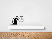 "WALL - Banksy Style Rat - I'm Out of Bed - Wall Vinyl Decal (18""Wx11""H)(BLACK)"