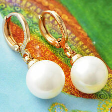 Womens 22K Yellow Gold Filled Vintage 7mm Big White Pearl Dangle Earrings