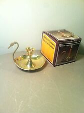 Vintage Solid Brass Swan Finger Lamp Candle Holder-Hollywood Regency-NOS