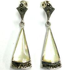 Plata esterlina 925 Art Decó Madre Perla Y Marcasita Pendientes de las gotas Triángulo