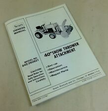 "SEARS 40"" SNOW THROWER ATTACHMENTS MODEL 842-260621 OWNERS OPERATORS MANUAL"