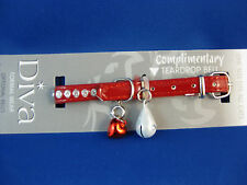 Cat Collar - Diva Red with Rhinestones includes Safety Elastic & Teardrop Bell