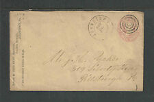 1860s U59 STAMPED JOHN RYAN MERCHANT JOHNSTOWN PA ADVERTISING COVER DOUBLE RING