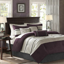 Cal King Size Comforter Pillow Set 7 Piece Reversible Purple Multi Color Bedroom
