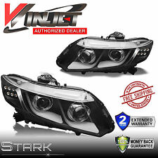 12-15 Civic 4Dr Sedan / 12-13 Coupe LED DRL Bar Projector Headlights Black PAIR