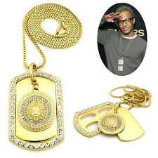 MENS NEW ICED OUT HIP HOP GOLD MEDUSA DOG TAG PENDANT BOX CHAIN NECKLACE
