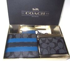 Coach Men's F55485 ID Wallet 3 piece Gift Set Signature Charcoal & Navy NWT $225