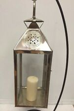 Moroccan Star Lantern Silver Metal & Glass Hanging Votive Lamp Candle Large