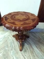 "Beautiful Carved Round Table w Inlaid Brass Work 18"" Coffee Round Table Foldable"