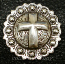 "WESTERN ANTIQUE CROSS BERRY SADDLE CONCHO 1-1/2"" SCREW BACK"