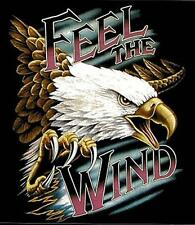 SIZE L FEEL THE WIND FLYING EAGLE BLACK SHORT SLEEVE TEE SHIRT #66 EAGLES NEW