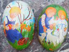 Osterei Dresdner Pappe Candy container Easter Egg Füllei Ei Lamm Kind 1950