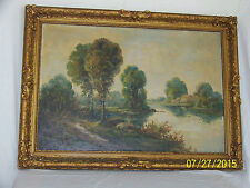Antique Hudson River School Original Oil Lakeside Landscape Gold Gilded Frame