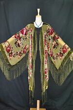 Ar to Olive Green Flower Silk Burnout Velvet Fringe Kimono Opera Coat Duster XL
