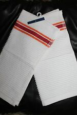 KITCHEN SET OF 2 DISHCLOTHS *WHITE WITH STRIPES COTTON BLEND U PICK COLOR