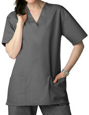 Pewter V Neck Top Drawstring Pants SM Unisex Medical Uniforms 2 Piece Scrub Set
