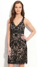 SUE WONG  Black Nude Beaded GATSBY Cocktail Evening Illusion Back Dress 14