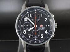 Swiss Wenger black dial auto date SS chrono sport watch WR 100m