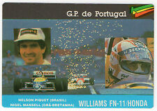 1987 Portugese Pocket Calendar F1 Williams Team - Nelson Piquet & Nigel Mansell