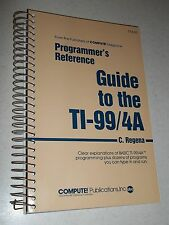 "TI-99/4A 99/4 Book PROGAMMER""S REFERENCE GUIDE by C. Regena COMPUTE! *New*"