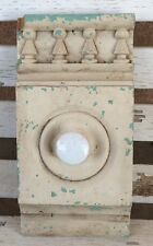 Victorian Architectural Salvaged Chippy Wood Pediment Wall Rack ~ Cream & Green