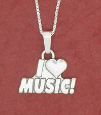 I Love Music Necklace Solid 925 sterling silver Charm Pendant and Chain jewelry