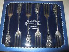 6 Kuchengabeln Hildesheimer Rose Original Antiko 100 Silberauflage, mit OVP