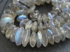 "HAND FACETED LABRADORITE rondelles, approx 7mm - 11mm, 16"", 120 beads"