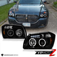 [SINISTER BLACK] 2005 2006 2007 Dodge Magnum Wagon Angel Eye LED Halo Headlights