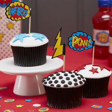 Food Flags / Cupcake Sticks / Cake Toppers - Comic Book Superhero Birthday Party