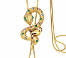 DF100 Long Swarovski Blue & Green Crystal Gold Fringe Snake Handmade Necklace
