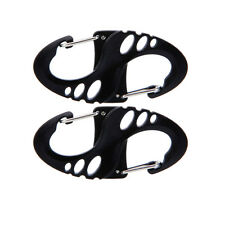 2 Pcs 8-Shaped Carabiner Snap Plastic Camping Hiking Clip Hook Keychain Bla